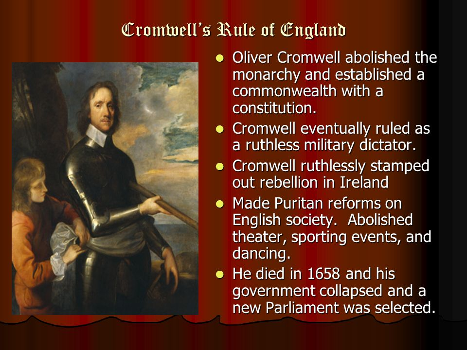 What type of government was created by Oliver Cromwell after the civil war?