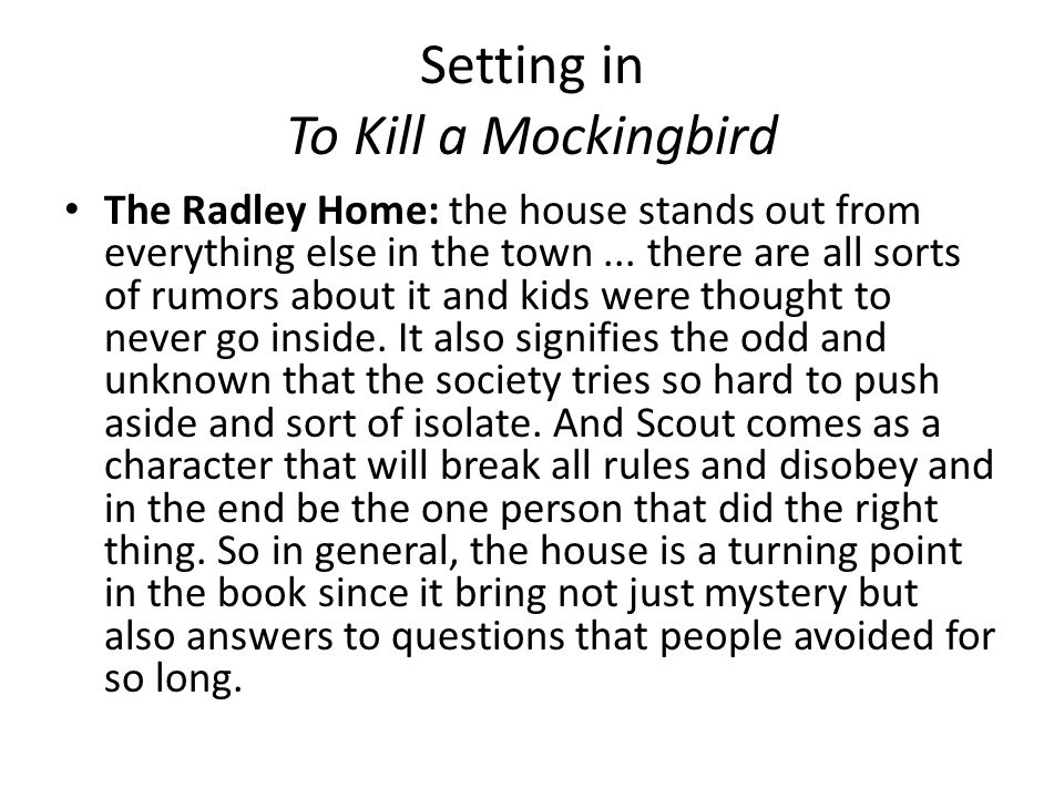 Essay setting kill mockingbird