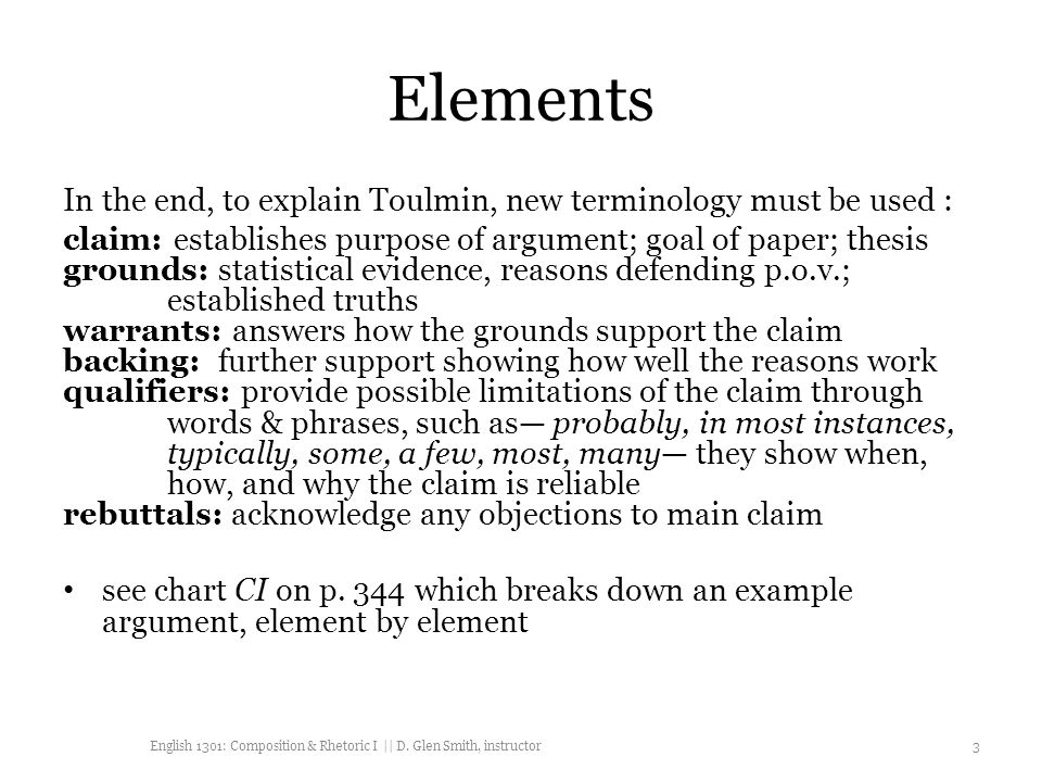 elements in the end to explain toulmin new terminology must be used - Toulmin Analysis Essay Example