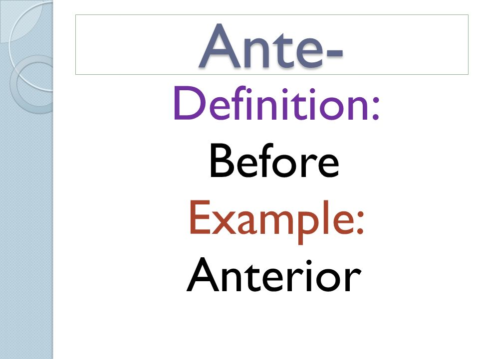 4 Definition: Before Example: Anterior