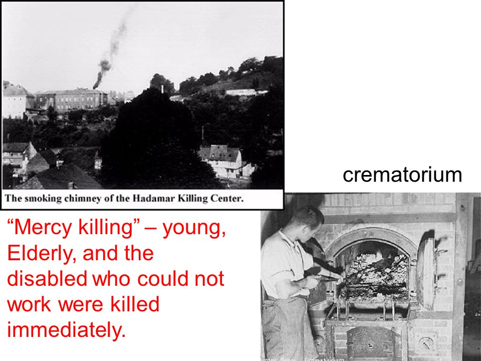 crematorium Mercy killing – young, Elderly, and the disabled who could not work were killed immediately.