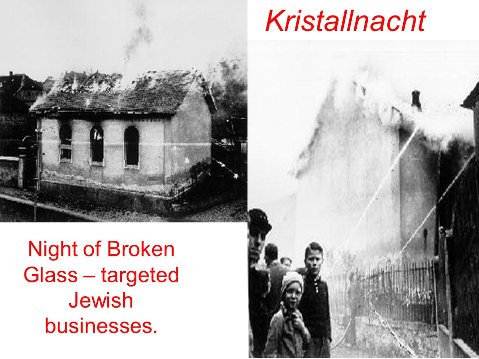 Night of Broken Glass – targeted Jewish businesses.