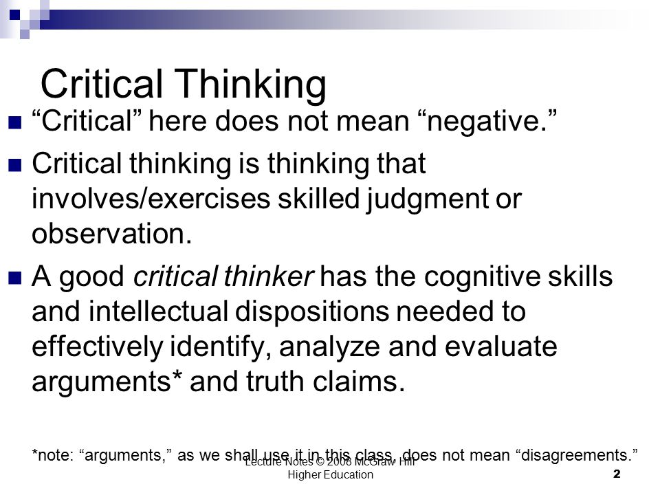 Is critical thinking negative thinking