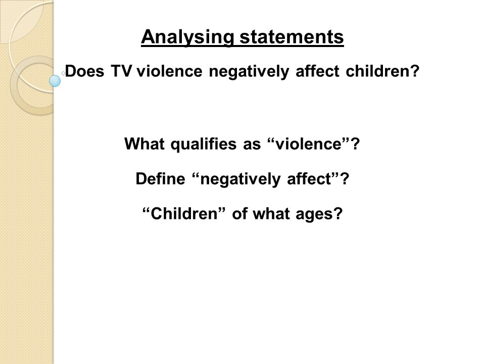 """does television violence affect children? essay The effect of media violence on children  """"how can seeing so much violence on television and video games and hearing about violence in music affect a child."""