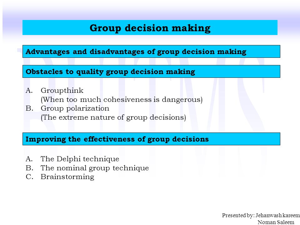 Group Decision Making Advantages 104