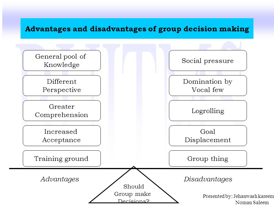 advantages and disadvantages to group decision making I suppose there are many advantages and disadvantages to group decision-making, the values of which vary from person to person as a general rule of thumb, i dislike group decision-making because it has always seemed to me to be a sort of magnet for arrogant narcissists to commandeer a group for his/her own glory.