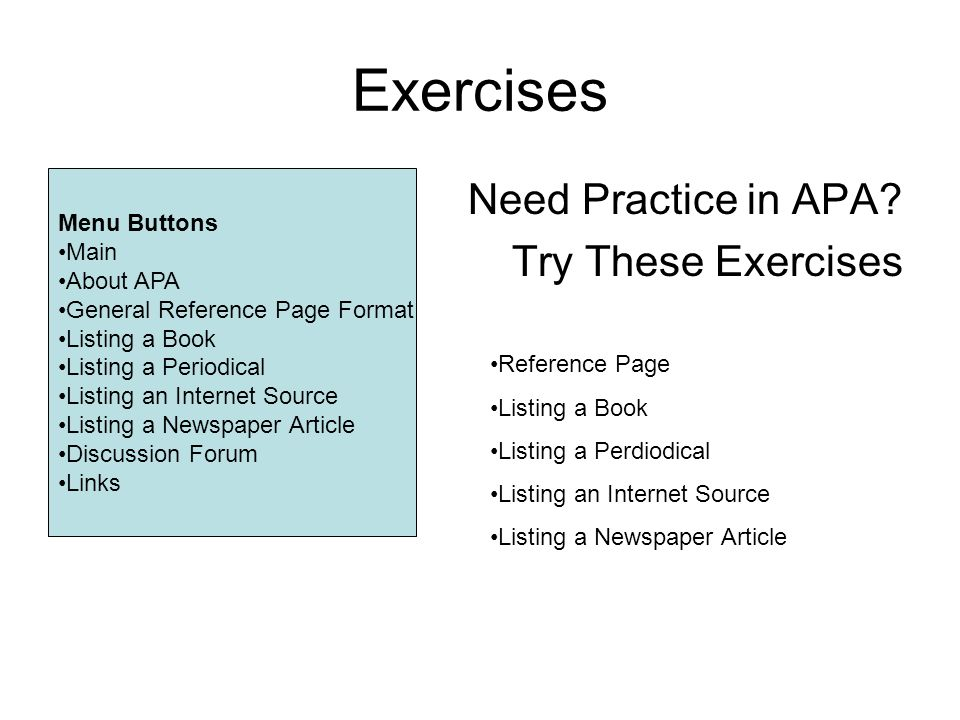 an exercise in apa formatting Setting the stage the first two sections of this unit will show you the basics of apa formatting to structure elements of your paper included are exercises to practice selecting and setting aspects of the paper such as margins and line spacing.
