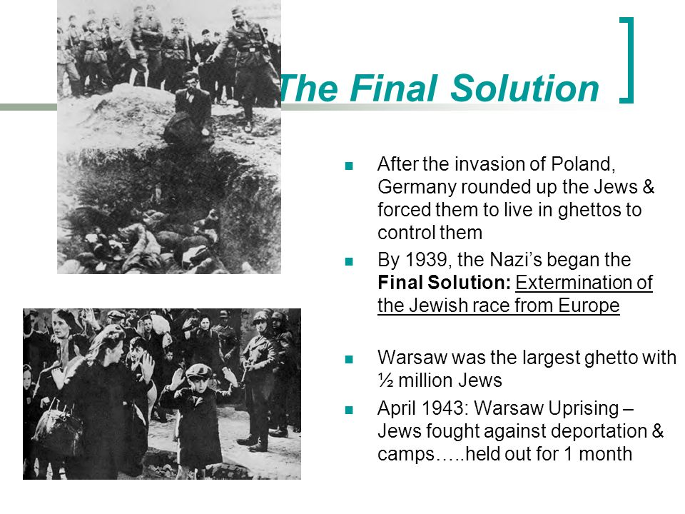 extermination of the jewish race Jews were targeted for extermination as part of a larger event involving the   jews as a race whose members were locked in mortal combat with the aryan  race.