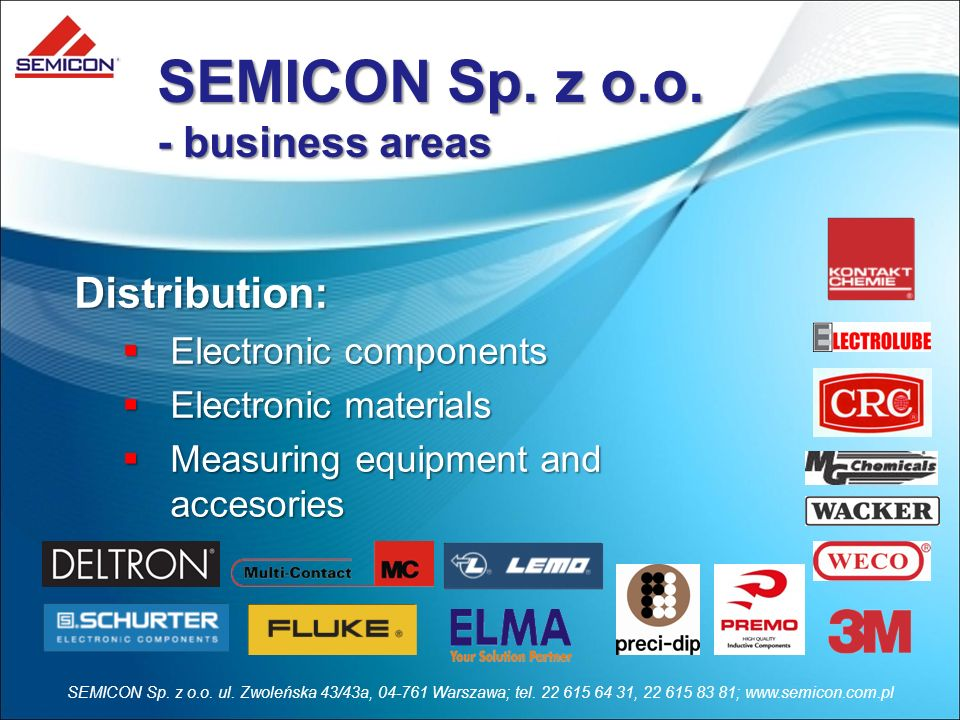 SEMICON Sp. z o.o. - business areas Distribution: