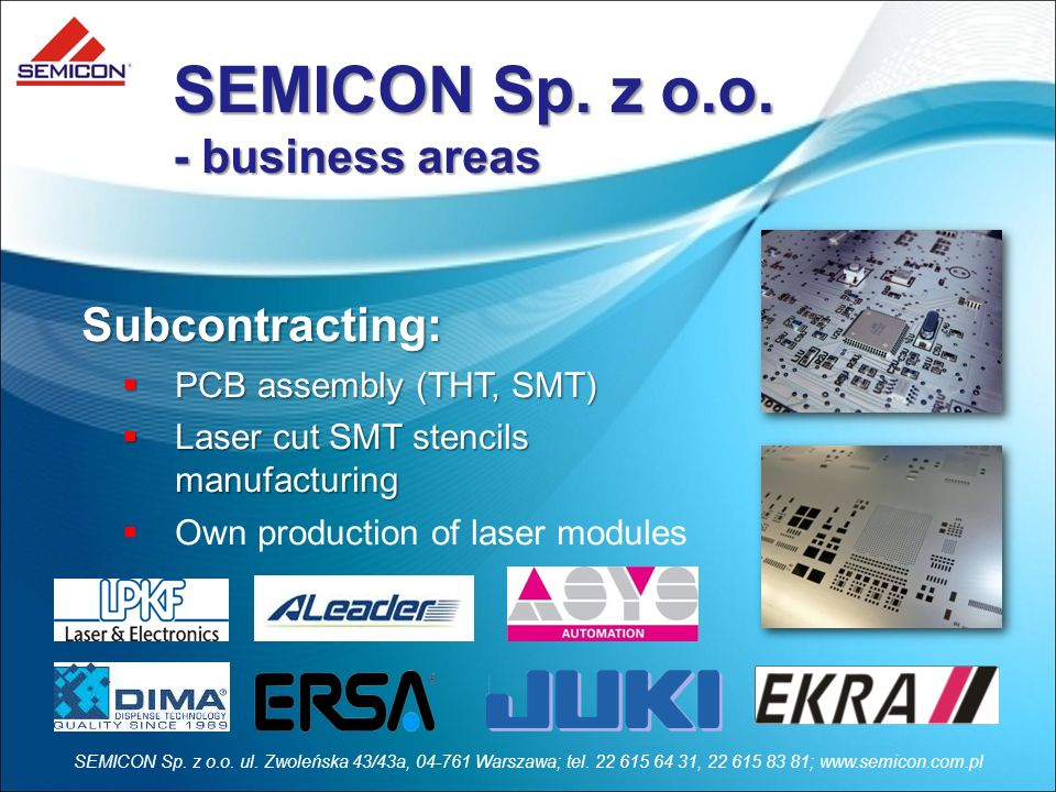 SEMICON Sp. z o.o. - business areas Subcontracting:
