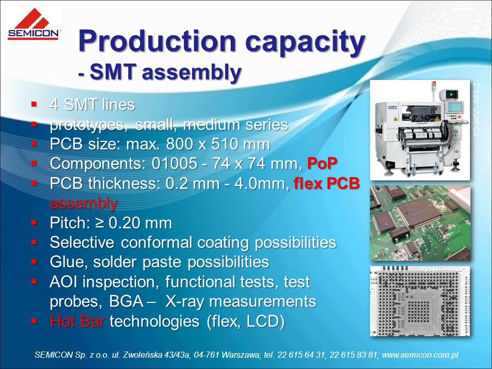 Production capacity - SMT assembly 4 SMT lines