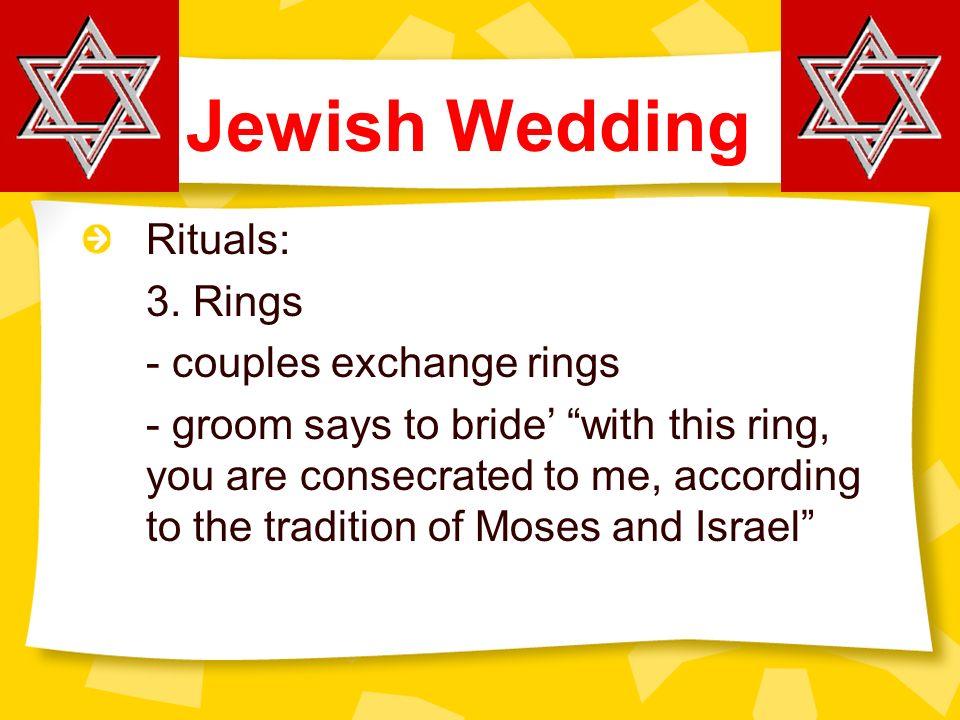Jewish Wedding Exchange Of Rings