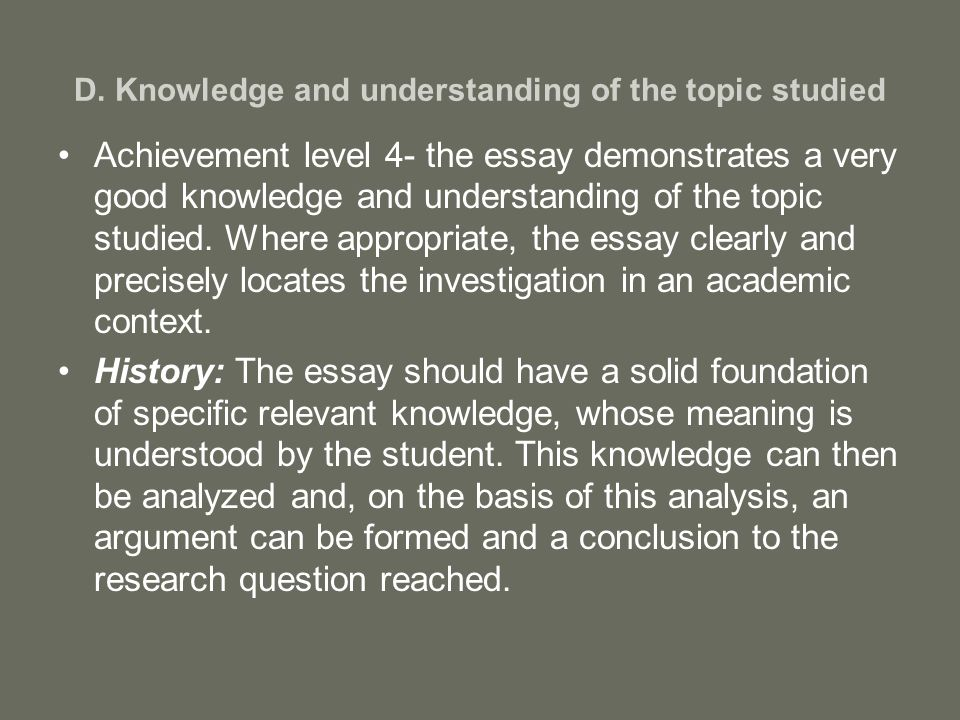 an analysis of the topic of the knowledge Find out how you can contribute to the body of knowledge it is very funny how some students feel that every researchable idea or topic on data analysis can.
