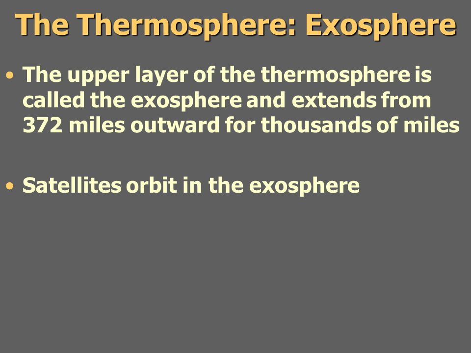 The Thermosphere: Exosphere