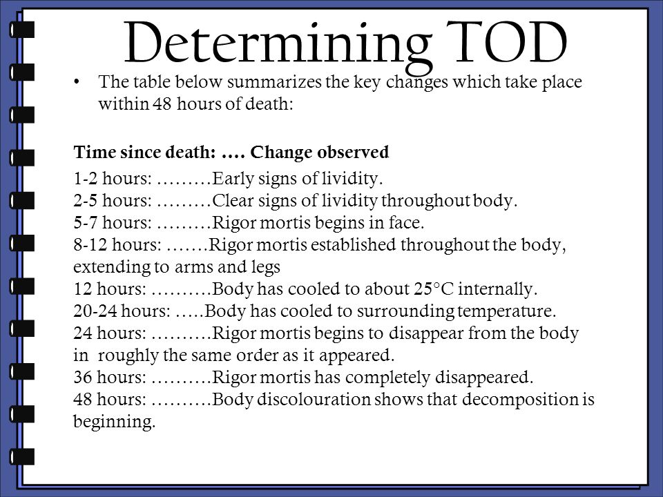 stages of decomposition effect of time and temperature Decomposition - forensic evidence the presence of animals on a corpse can provide information for investigators on some of the circumstances surrounding death they can help pinpoint the time of death, the location of wounds, whether a body has been moved, and whether drugs were present in the body at the time of death.