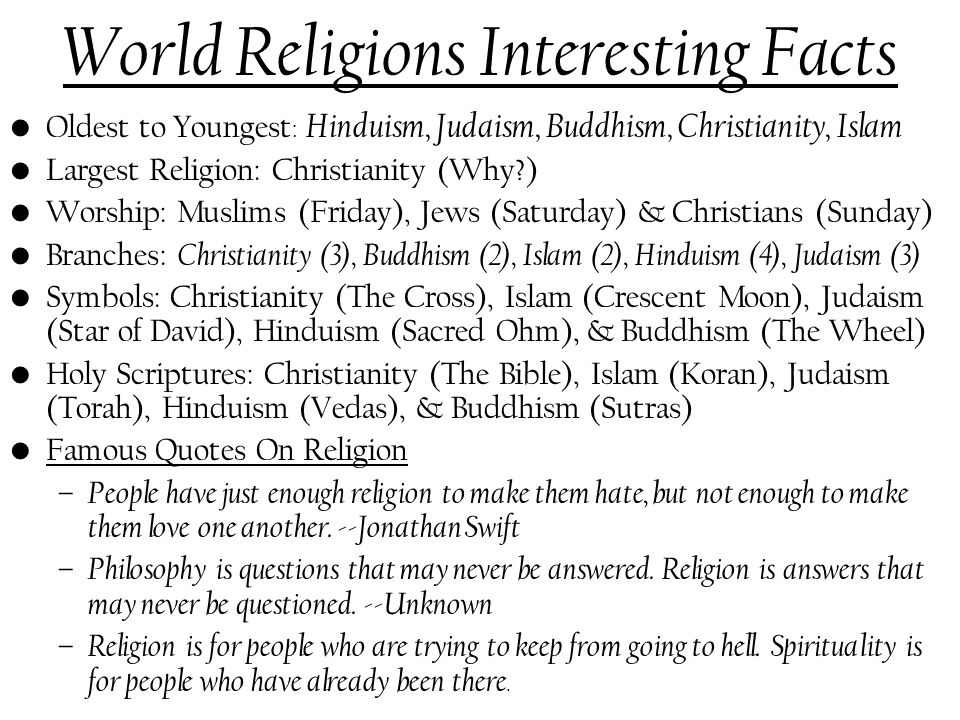 World Religions Interesting Facts Ppt Video Online Download - 3 largest religions