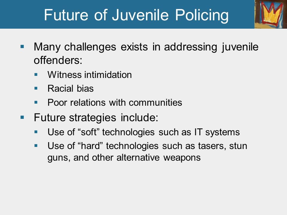 an analysis of the topic of the policing of juveniles and the many police officers For decades, the relationship between private and public police officers has been a topic of debate both private and public police officers have the.