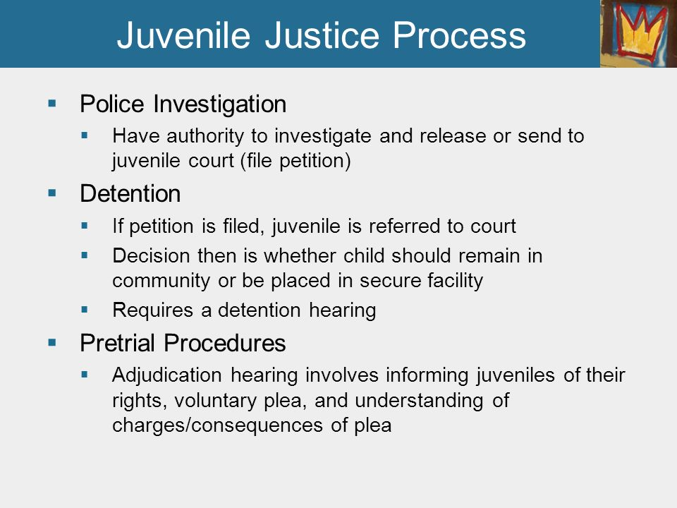 juvenile justice process On the juvenile justice process jeffrey fagan ellen slaughter eliot hartstone  the increasing prevalence of minority youth in the juvenile justice system has.