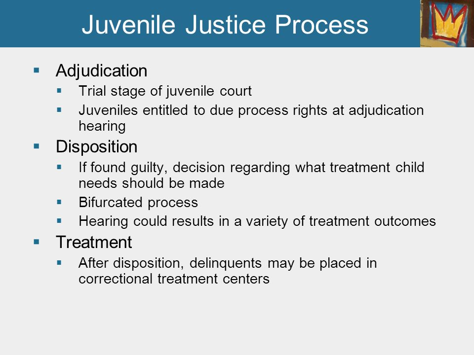 juvenile justice process and correction Juvenile justice is committed to the reduction and prevention of juvenile delinquency by effectively intervening, educating and treating youth in order to strengthen families and increase public safety.