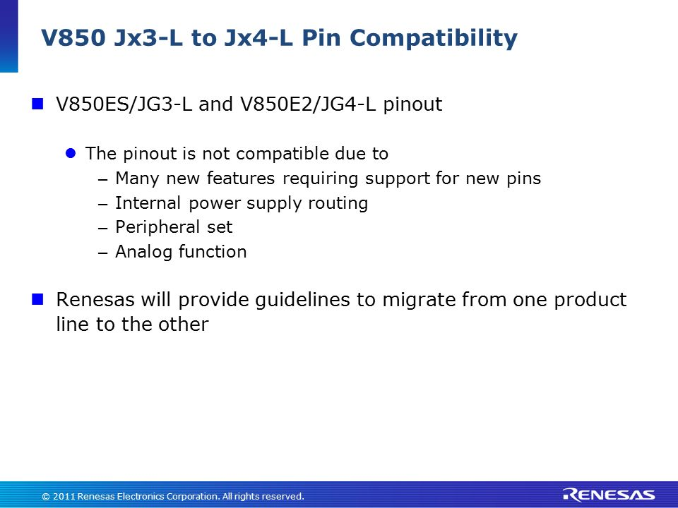 V850 Jx3-L to Jx4-L Pin Compatibility