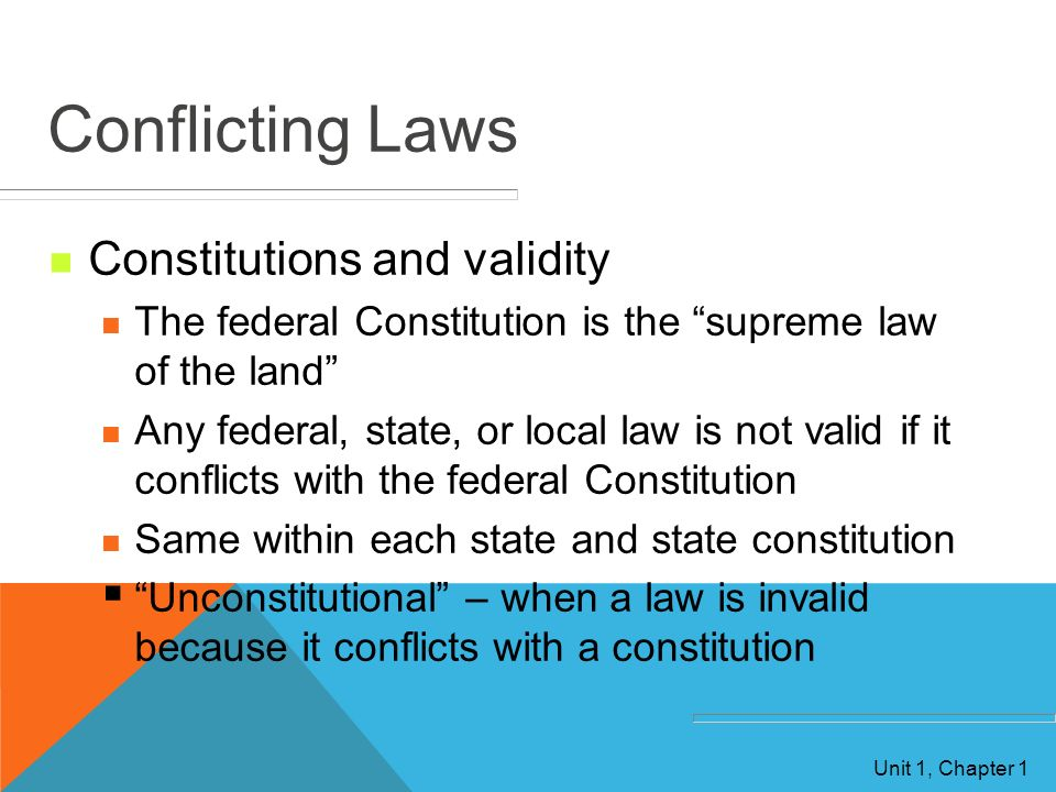 Conflicting Laws Constitutions and validity