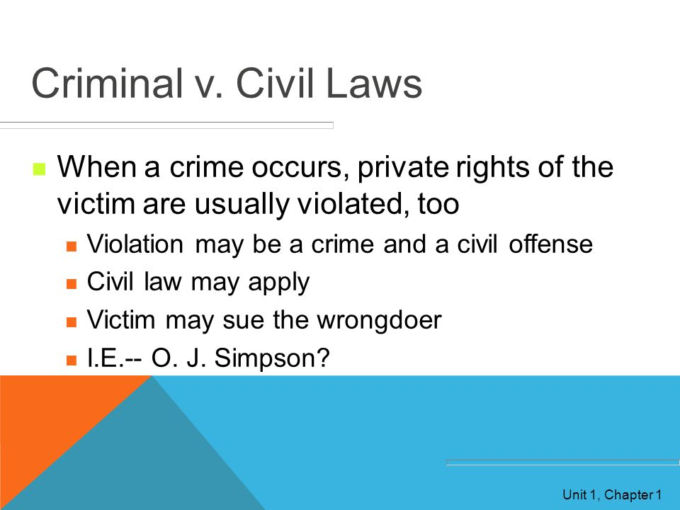Criminal v. Civil Laws When a crime occurs, private rights of the victim are usually violated, too.