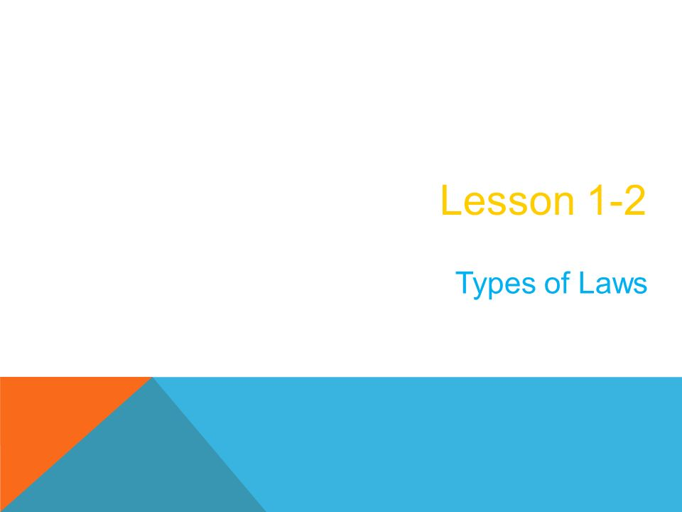 Lesson 1-2 Types of Laws