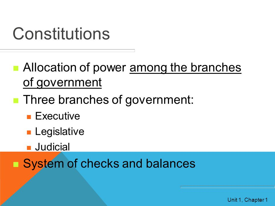 Constitutions Allocation of power among the branches of government