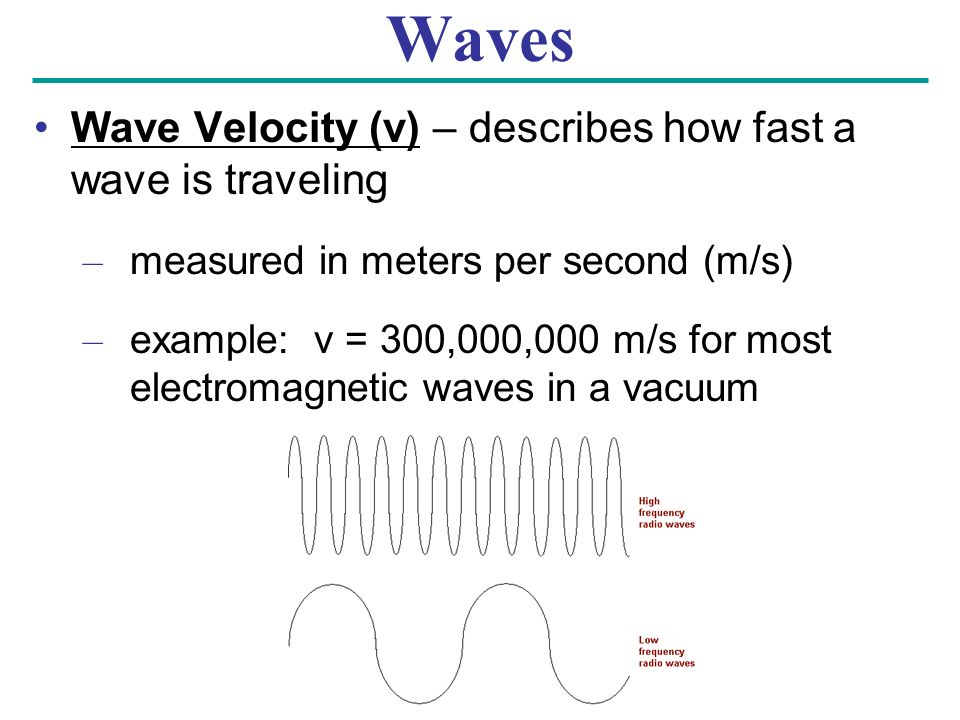 Waves Wave Velocity (v) – describes how fast a wave is traveling