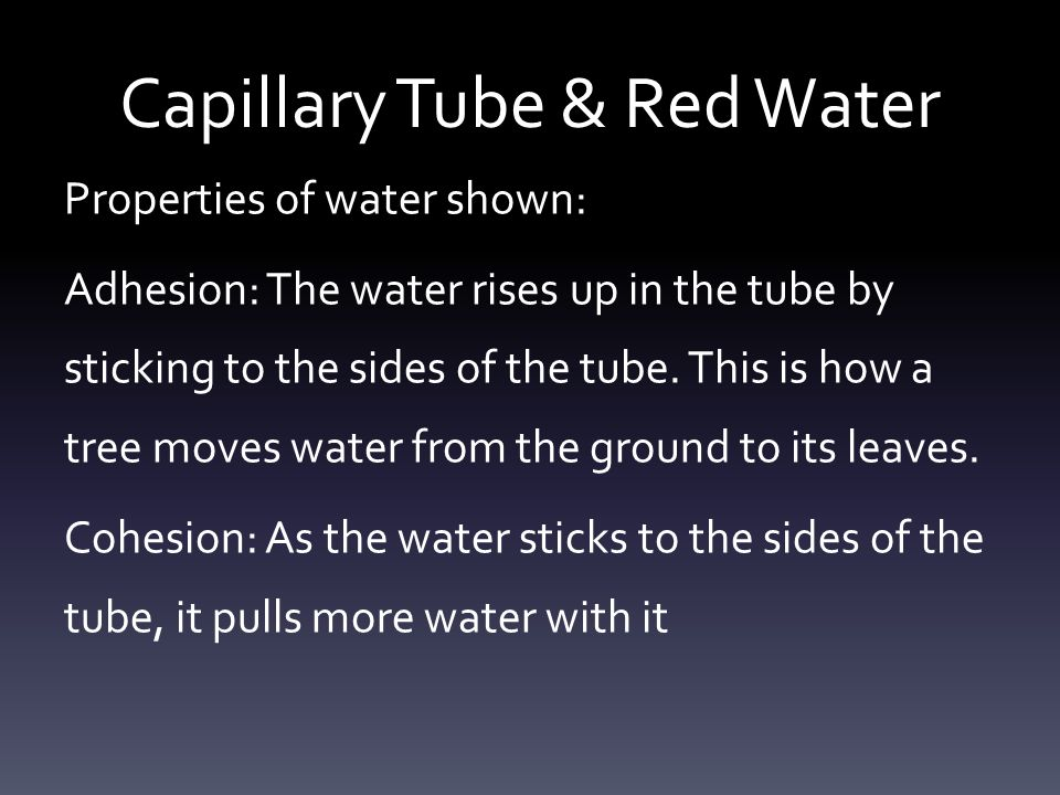 Capillary Tube & Red Water