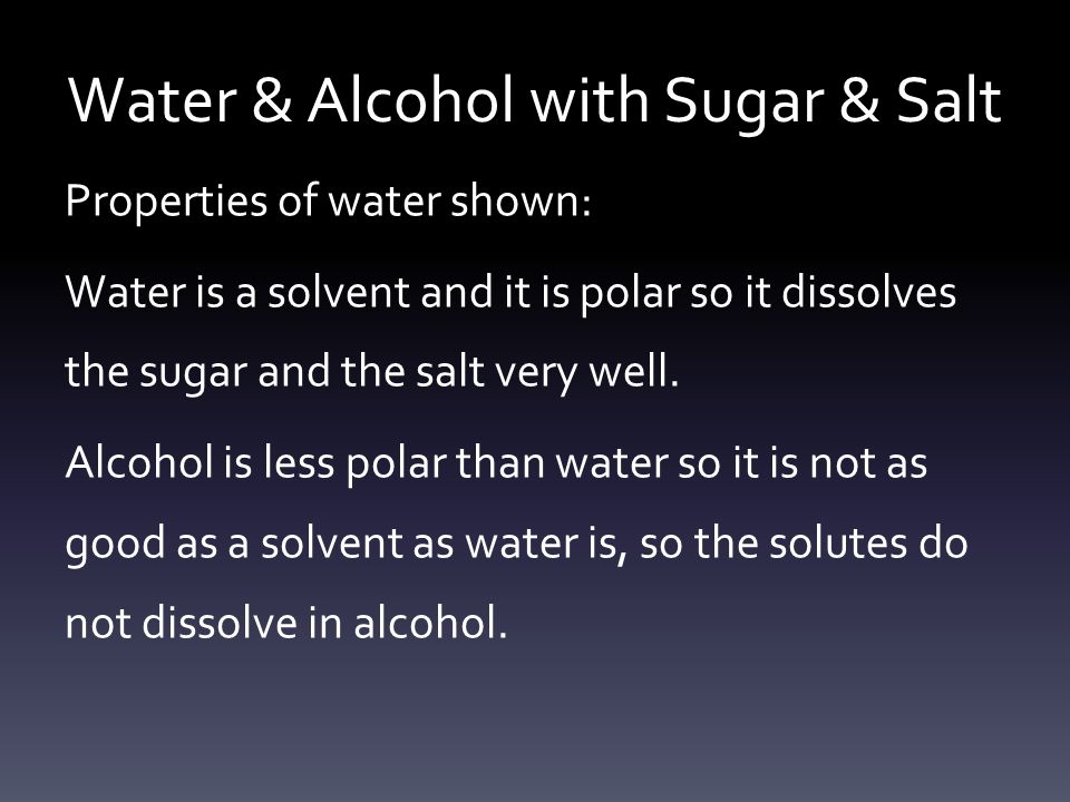 Water & Alcohol with Sugar & Salt