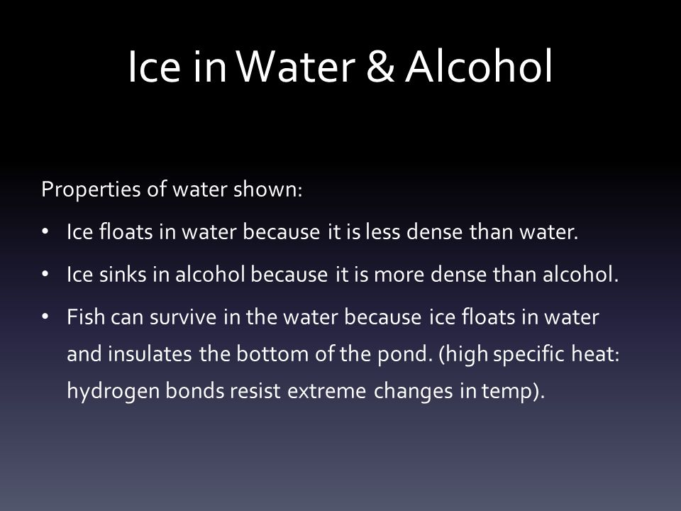 Ice in Water & Alcohol Properties of water shown: