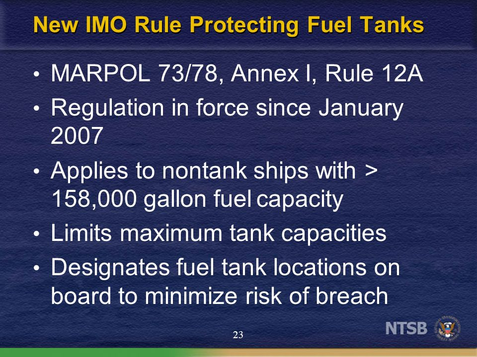 New IMO Rule Protecting Fuel Tanks