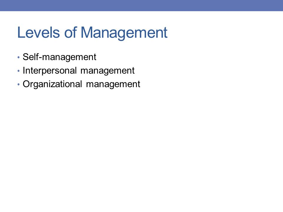 Levels of Management Self-management Interpersonal management