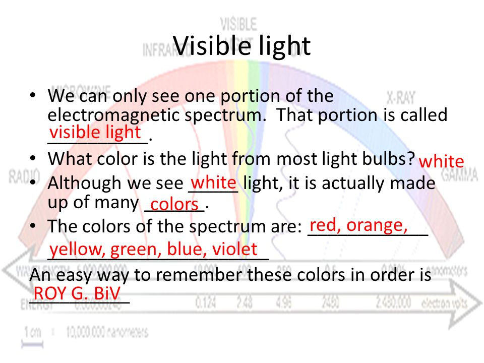 Visible light We can only see one portion of the electromagnetic spectrum. That portion is called __________.