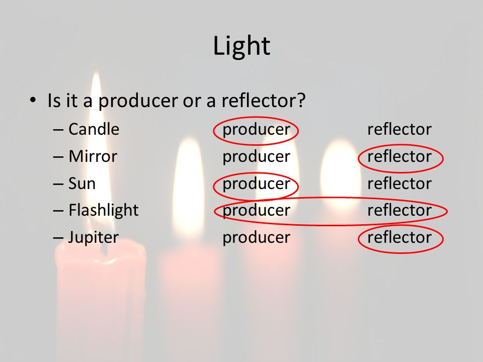 Light Is it a producer or a reflector Candle producer reflector