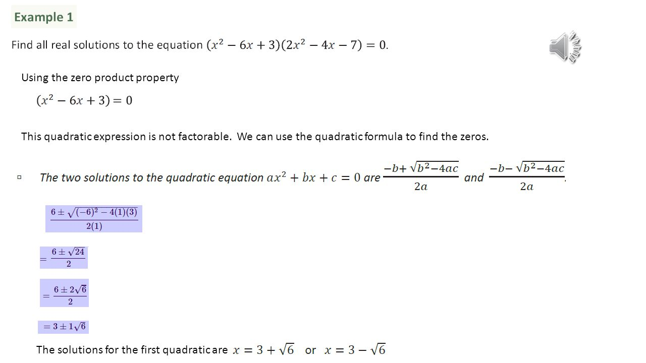 Using The Zero Product Property This Quadratic Expression Is Not  Factorable We Can Use The