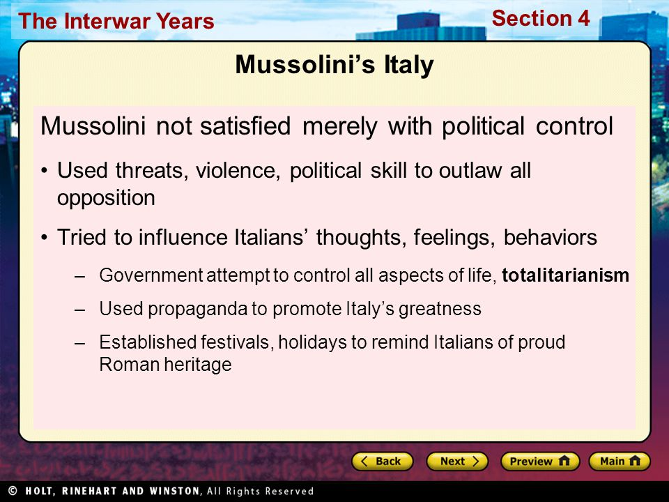 how far was mussolini s control In 1921 the fascisti, led by a close confidant of mussolini's, dino grandi, formed armed squads of war veterans called blackshirts, (squadristi), with the goal of restoring order to the streets of italy with a strong hand.
