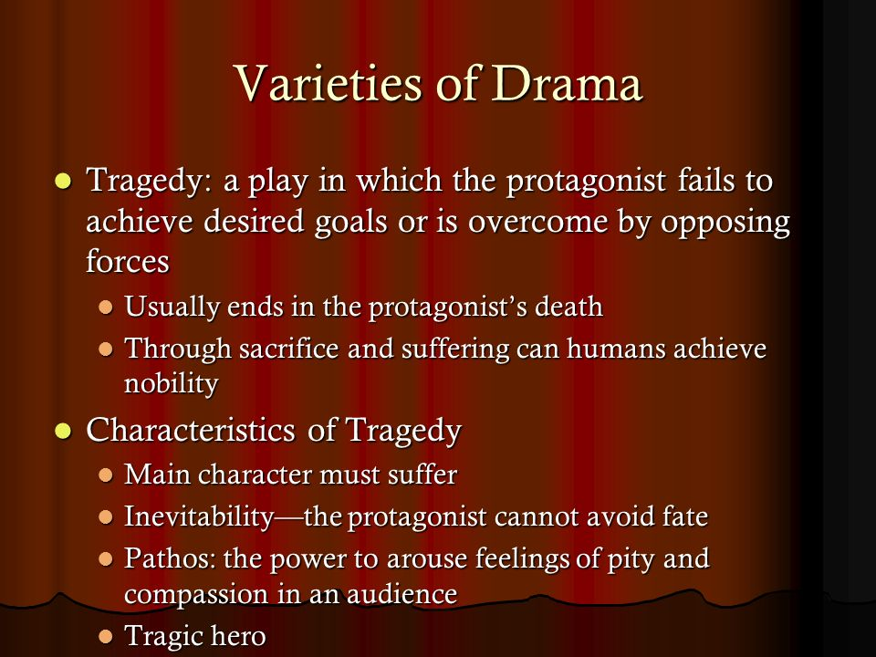 "an analysis of characteristics of a tragedy play Free essay: hamlet is the main character and protagonist in the play ""hamlet"" by william shakespeare hamlet is the prince of denmark he is the son of queen."