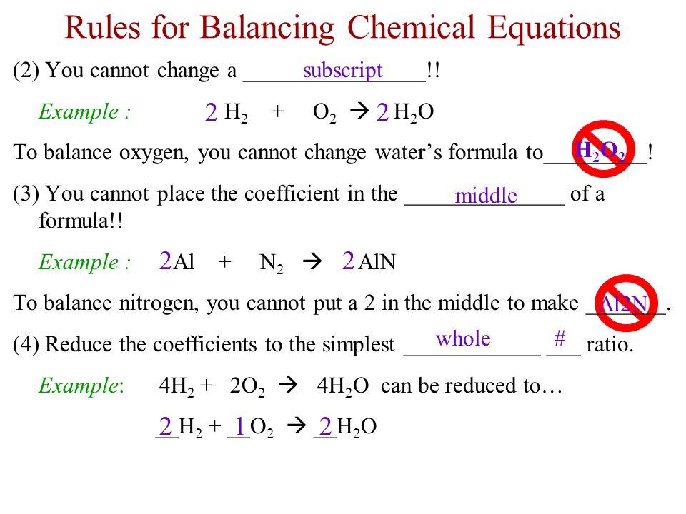 explain how to balance a chemical equation