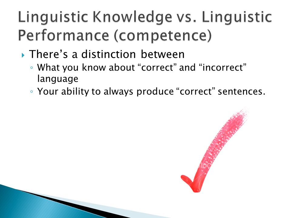 relationship between linguistic competence and performance
