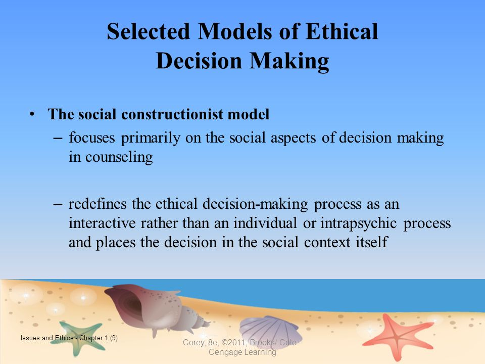 ethics model Ethics or moral philosophy is a branch of noddings proposes that ethical caring has the potential to be a more concrete evaluative model of moral dilemma.