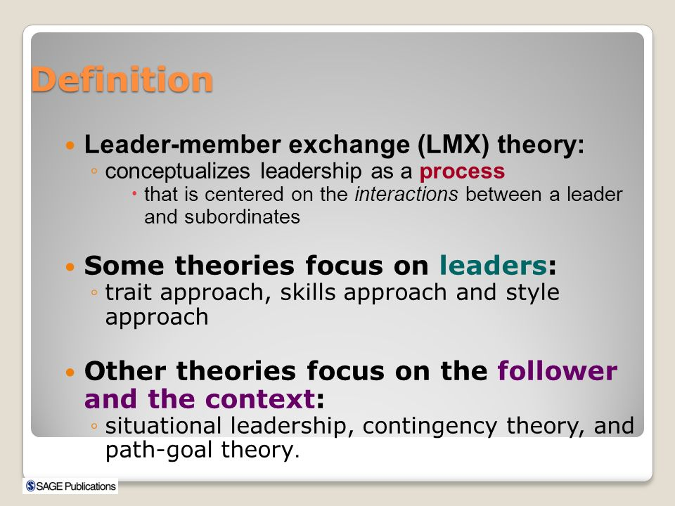 the leadership member exchange theory Use mindtoolscom resources to learn more than 2,600 management, leadership and personal effectiveness skills, helping you to be happy and successful at work.