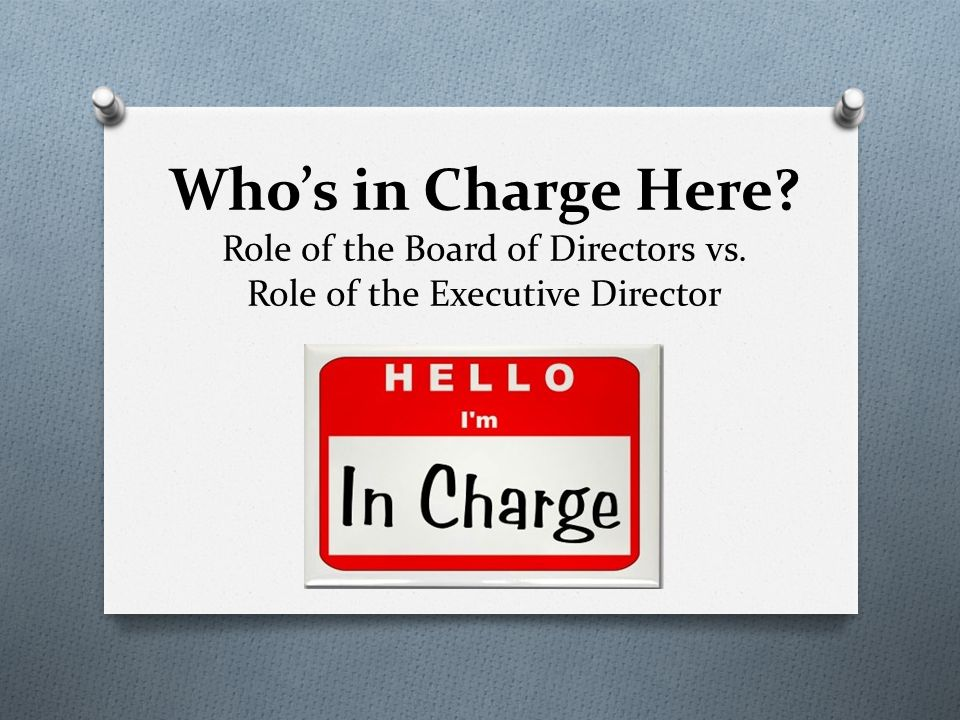 Who S In Charge Here Role Of The Board Of Directors Vs