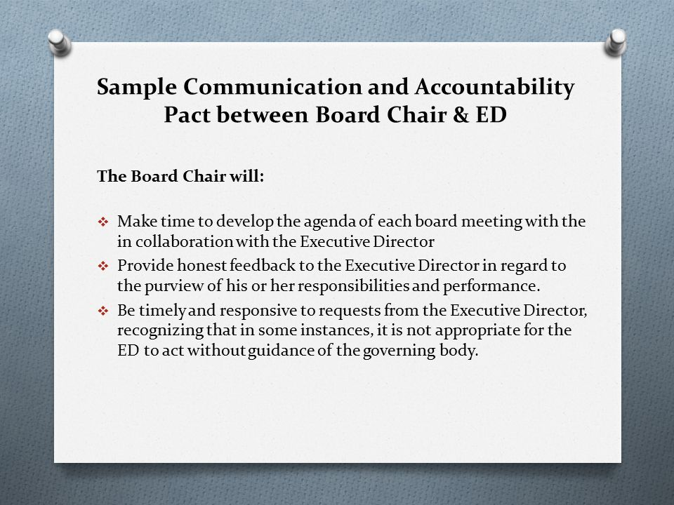 relationship between board of directors and executive director