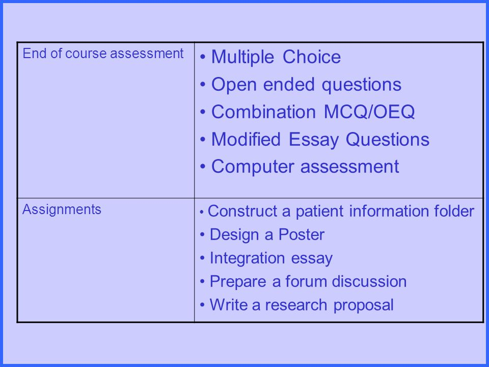 assessment assignment essay Nursing assignment sample on case study on risk assessment the main objective of this essay is to provide the reader a broader view on addressing.