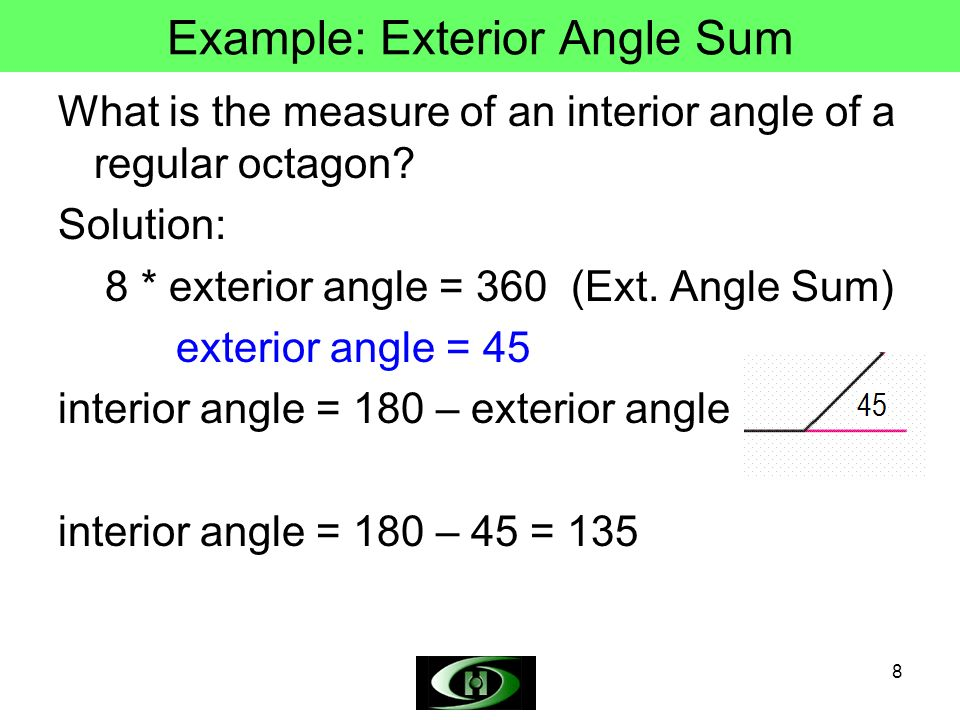 how to find the interior angle of an octagon