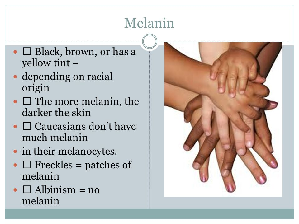 Melanin  Black, brown, or has a yellow tint –