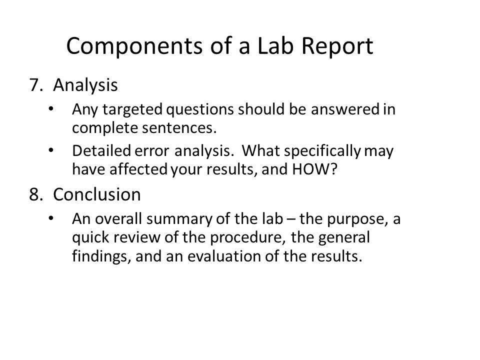 Analysis Lab Report