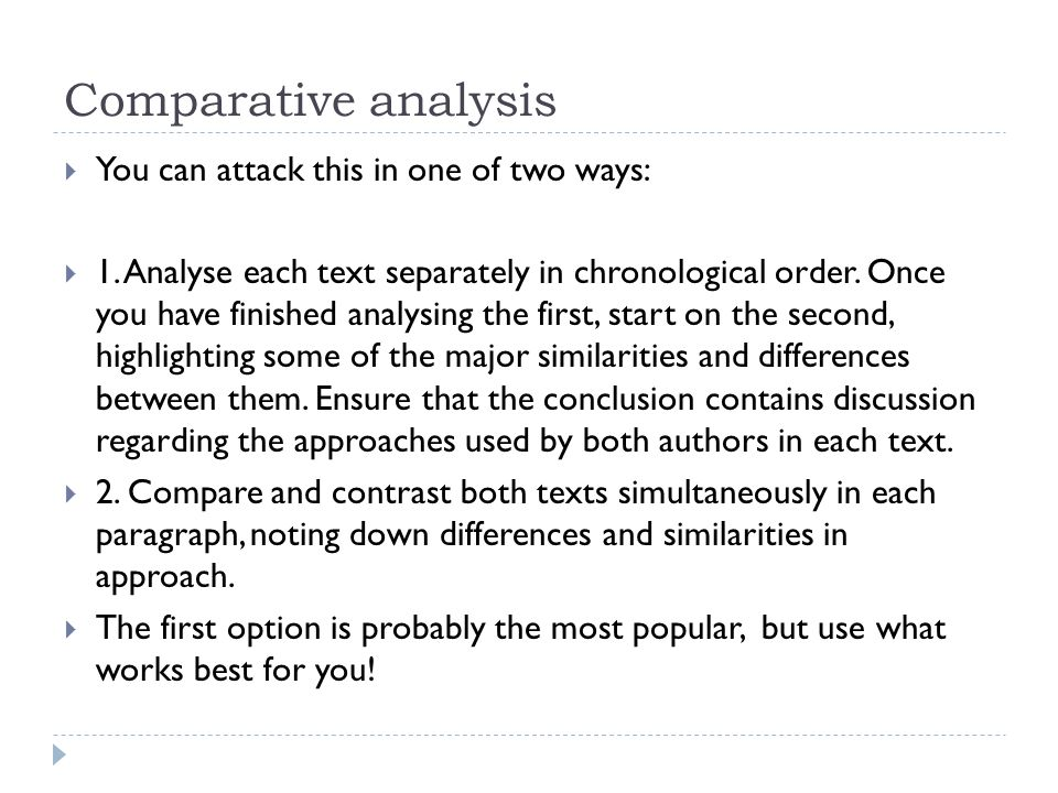 comparative textual analysis of two articles This balance between two novels is why it can be difficult understanding how to analyze two books in an essay an outline helps you keep this balance because it ensures that your argument will be presented in an organized fashion, with equal support for your analysis for both books.